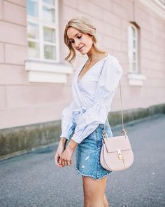 Summer outfit with a light-coloured denim skirt, baby blue wrap top and a Chloé bag - Anna Pauliina, Arctic Vanilla blog.