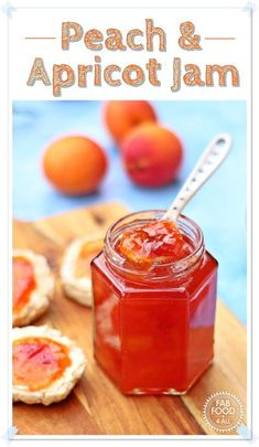 Peach & Apricot Jam (1st Prize Winning) is perfect for breakfast or tea time! #apricot #peach #nectarine #jam #canning #preserve #fruits Vegetarian Breakfast Recipes, Vegetarian Main Dishes, Vegetarian Appetizers, Savory Snacks, Jam Recipes, Vegan Recipes Easy, Great Recipes, Favorite Recipes, Yummy Recipes