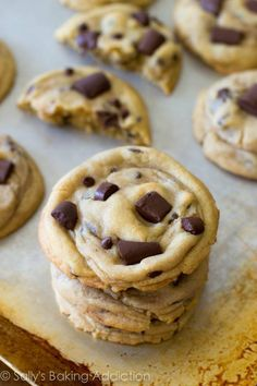 The chewiest, softest, thickest chocolate chip cookies ever. So many little tricks explained to get that perfect cookie every time.  http://sallysbakingaddiction.com/2013/05/13/chewy-chocolate-chunk-cookies/