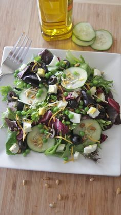 Healthy Spring Sweet Pea Garden Salad w/ Olive Oil Dressing | Divas Can Cook