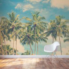 Vintage Summer Palms Wall Mural #wallums
