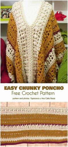 Easy Chunky Poncho Free Crochet Pattern and Video Tutorial Chunky Crochet, Crochet Beanie, Crochet Cardigan, Crochet Shawl, Easy Crochet, Free Crochet, Knit Crochet, Crochet Sweaters, Chunky Yarn