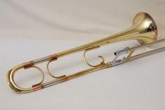 "Getzen ""The Dude"" trombone with copper garland around the bell flare"