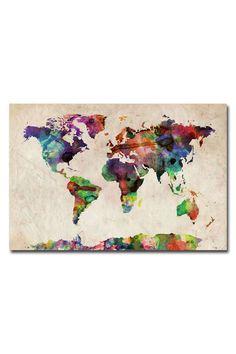 Michael Tompsett 'Urban Watercolor World Map' Canvas Wall Art