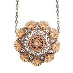 Mandala necklace - laser cut wood