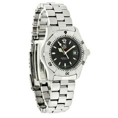 TAG HEUER 2000 CLASSIC PROFESSIONAL LADIES SWISS QUARTZ WATCH  - Brushed Stainless Steel Case & Bracelet - Rotating Bezel - Black Dial - Silver Tone-luminous Hour, Minute, & Second Hands - Silver Tone-luminous Line Hour Markers - Date Display at 3:00 Position - Scratch Resistant Sapphire Crystal