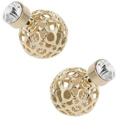 TOPSHOP Cut-Out Metal Ball Earrings ($14) ❤ liked on Polyvore featuring jewelry, earrings, clear, ball earrings, clear crystal earrings, beaded jewelry, topshop jewelry and cut out earrings