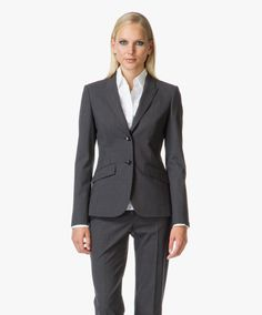 Hugo Boss Julea Getailleerde Blazer in Wool Stretch - Charcoal