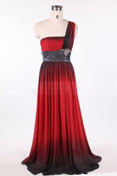 Black and Red Ombre Chiffon One Shoulder Prom/Evening Dress JSLD0146
