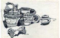 Sylvia plath's drawings Untitled (Pots) Pen and ink on paper