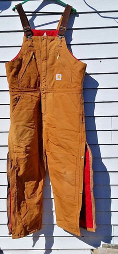 SOLD CARHARTT Men Women Quilt Lined Zip To Waist Bib Overalls R38 Brown 40X28 #Carhartt