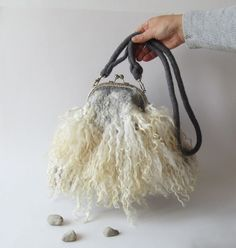 Felted handbag Grey Fur curly locks purse raw wool by galafilc