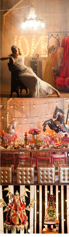 Circus Themed Wedding Inspiration. So I'm love with allllllll of this.