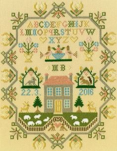 Sheep May Safely Graze - Moira Blackburn traditional style cross stitch sampler by Bothy Threads