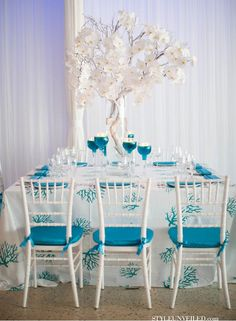 Chic White And Turquoise Wedding Table Decor.