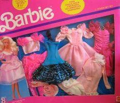 Barbie 6 Fashion Gift Set w Dressy & Bedtime Fashions (1990 Arco Toys, Mattel)