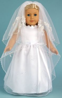 Gorgeous Veil Dress for American Girl dolls with unique one of a kind veil - from Dream World Collections.