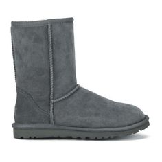 UGG Australia Women's Classic Short Sheepskin Boots ($230) ❤ liked on Polyvore featuring shoes, boots, ankle booties, uggs, grey, sheepskin boots, short gray boots, gray boots, grey boots and suede heel boots