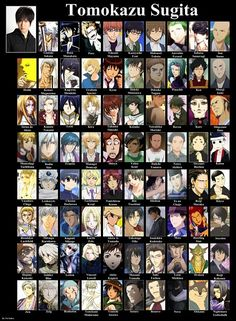 SUGITA TOMOKAZU (Reisi Munakata (K), Takuma Onizaki (Hiiro no Kakera), Raven (Earl and Fairy), Kagerou Shoukiin (Inu x Boku SS), Pace (La storia della Arcana Famiglia), Francis (Angelique) )