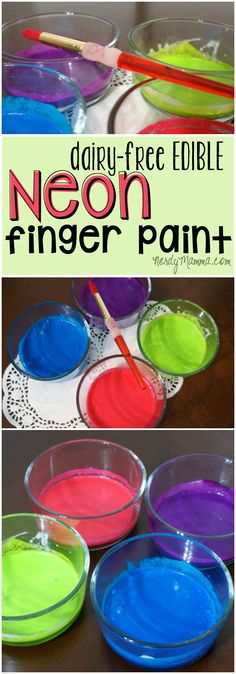 There's a lot of fun to be had with finger paints. Especially edible ones. So, I made these awesome Dairy-Free Edible Neon Finger Paints. Baby Painting, Finger Painting, Painting For Kids, Art For Kids, Kids Fun, Diy Craft Projects, Projects For Kids, Fun Crafts, Crafts For Kids