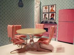 Southern Disposition: How to Make a Barbie Kitchen Table and Chairs with simple supplies like hangers and cork board. Barbie House Furniture, Doll Furniture, Dollhouse Furniture, Kitchen Furniture, Kitchen Table Chairs, Table And Chairs, Kitchen Dinning, Dinning Table, Dining Room