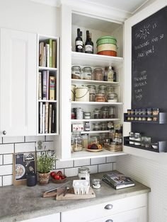 Kitchen Cabinet Detail w/ Spice Rack and Chalk Board | Content in a Cottage