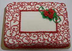Red scroll sheet cake Wedding Sheet Cakes, Birthday Sheet Cakes, Purple Butterfly Cake, Butterfly Cakes, Big Cakes, Fancy Cakes, Teachers Day Cake, Sheet Cake Recipes, Valentine Cake