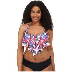 e1d212f9982fb BECCA by Rebecca Virtue Plus Size Becca ETC Aura Flounce Top Women s  Swimwear Plus Size Swimsuit