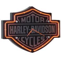 Harley Davidson Neon Clock for Game Room Pool Room Orange Neon Tubes Wall Clock   eBay