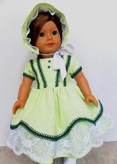 1850 American Girl Doll Dress and Bonnet Hat by JessicasDollCloset, $68.00