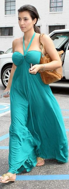 Kim Kardashian wearing Victoria's Secret Maxi Bra Top Dress. Kim Kardashian out and about in Hollywood August 04 2008.