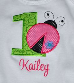 Birthday Girl Outfit - Monogrammed/Personalized First Birthday Ladybug Appliqued Onesie/Body Suit, Sizes 12 mo or 18mo via Etsy