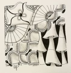 Miimis Zentangle mit Geerandola Caell Truffle und Fungees Zen Doodle, Doodle Art, Doodles Zentangles, Truffle, Pattern Art, Tangled, 4x4, Weave, Art Drawings