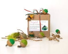 Felted Acorn Kit, Learn how to make your own diy colorful wool acorns, such a fun Fall and Atumn craft - GREENS