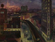 """The City from Greenwich Village"" by John French Sloan. 1922 oil on canvas. In the collection of The National Gallery of Art, Washington, DC. Gift of Helen Farr Sloan. Greenwich Village, Harlem Renaissance, American Realism, American Artists, Nocturne, William Glackens, George Grosz, Ashcan School, Art Deco"