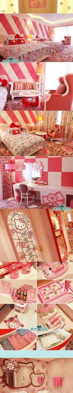Hello Kitty Theme hotel suite @ Lotte Jeju hotel in south korea. I have to stay here! Hello Kitty Bedroom, Hello Kitty House, Cat Bedroom, Bedroom Ideas, Bedroom Decor, Decoracion Hello Kitty, Theme Hotel, Hello Kitty Themes, Kawaii Room