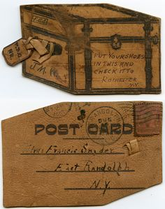 Put your shoes in this and check it to Rochester, N.Y ..... 1907 novelty postcard