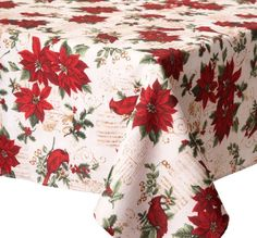 Benson Mill Red Poinsettias Christmas Tablecloth Spillproof Easy Care 60 w x 104 Long