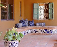 Mexican Tile Patios and Benches – Mexican Tile Designs Spanish Style Homes, Spanish House, Spanish Patio, Mexican Style Homes, Spanish Design, Spanish Colonial, Outdoor Rooms, Outdoor Living, Outdoor Decor
