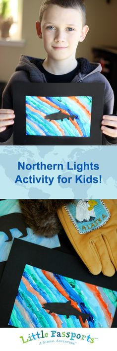 Create your own northern lights watercolor silhouette in 3 easy steps! Have your little globetrotters practice their artistic skills while learning a little about life in Alaska.
