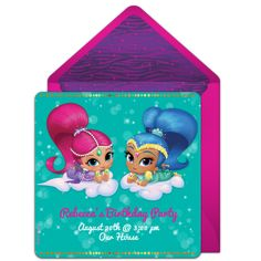 Customizable, free Shimmer and Shine Genies online invitations. Easy to personalize and send for a Shimmer and Shine birthday party. #punchbowl
