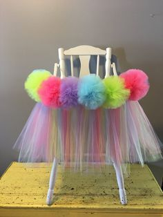First Easter High Chair Tutu tulle skirt- Pastels High Chair skirt- Smash Cake- Girls First Birthday by AvaryMaeInspirations on Etsy