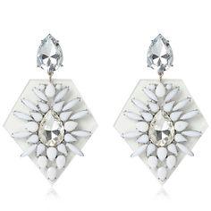 White encrusted perspex drop earrings #riverisland