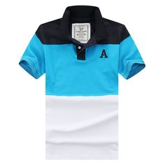 2015 Fashion Shirts Polo Men Striped Collar Short Sleeve Cotton Man Sport Golf Clothing Wear Casual