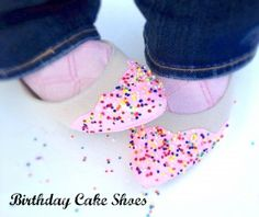 easy tutorial, how to make tour shoes look frosted with sprinkles!