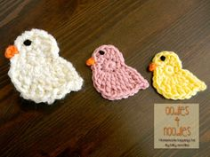 Spring Chick Applique Pattern, by Carrie Piper of Oodles 4 Noodles. Crochet Birds, Easter Crochet, Crochet Animals, Crochet Crafts, Yarn Crafts, Crochet Flowers, Crochet Toys, Crochet Projects, Knit Crochet