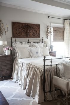 If you love French Country bedrooms, this post is for you. I'm sharing several different ways to create a French country bedroom. French Country Kitchens, French Country Bedrooms, French Country Farmhouse, French Country Decorating, Farmhouse Style, French Cottage, Farmhouse Ideas, Farmhouse Design, French Country Bedding