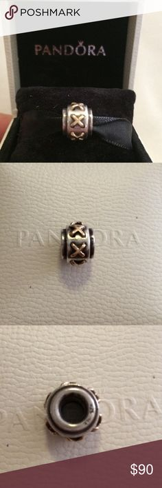 Pandora Stitched Shoelaces 2 tone Authentic Pandora Shoelace (790290) charm, sterling silver with 14K X stitches around the charm.  Retired, box not included.  🚫trades. Price FIRM Pandora Jewelry