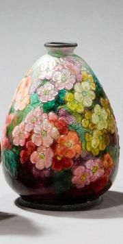 "Camille FAURÉ (1874-1956)~""Primroses"" copper vase ovoid~Small Collar recessed base~Floral decoration covering in polychrome glass enamel on a granite background"