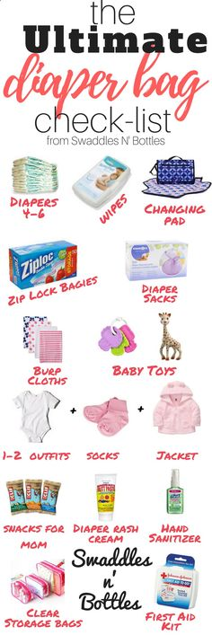 Packing a diaper bag is serious business! Heres a complete list of all the things you need! A great check list for moms-to-be! - Baby Stuff Weekly